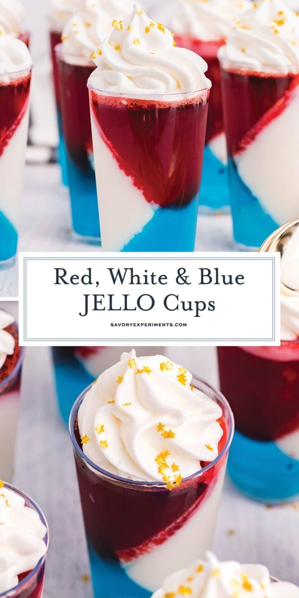 red, white and blue jello cups for pinterest