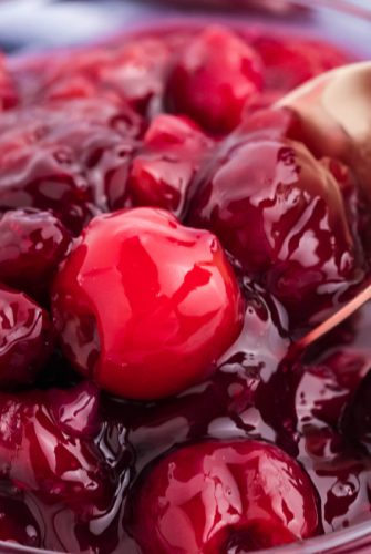 close up of cherry pie filling