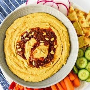 spicy hummus overhead with veggies