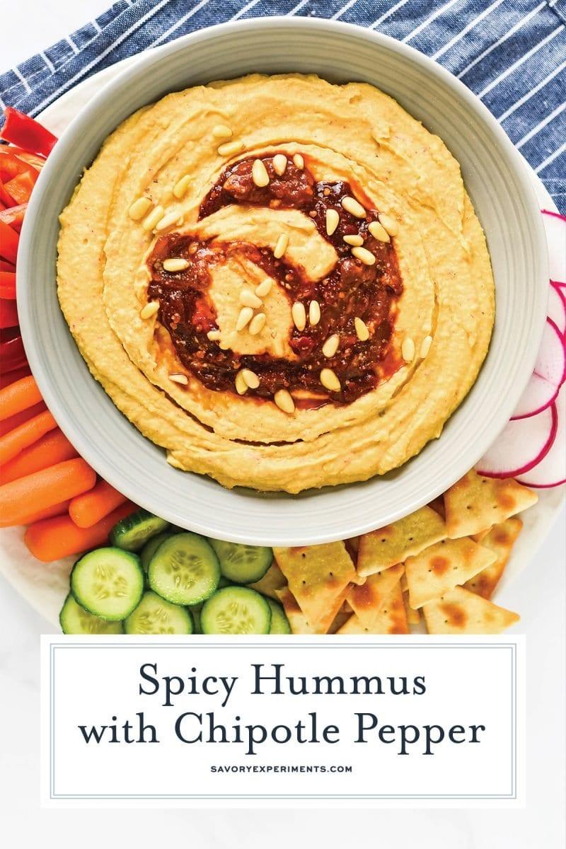 close up of spicy hummus