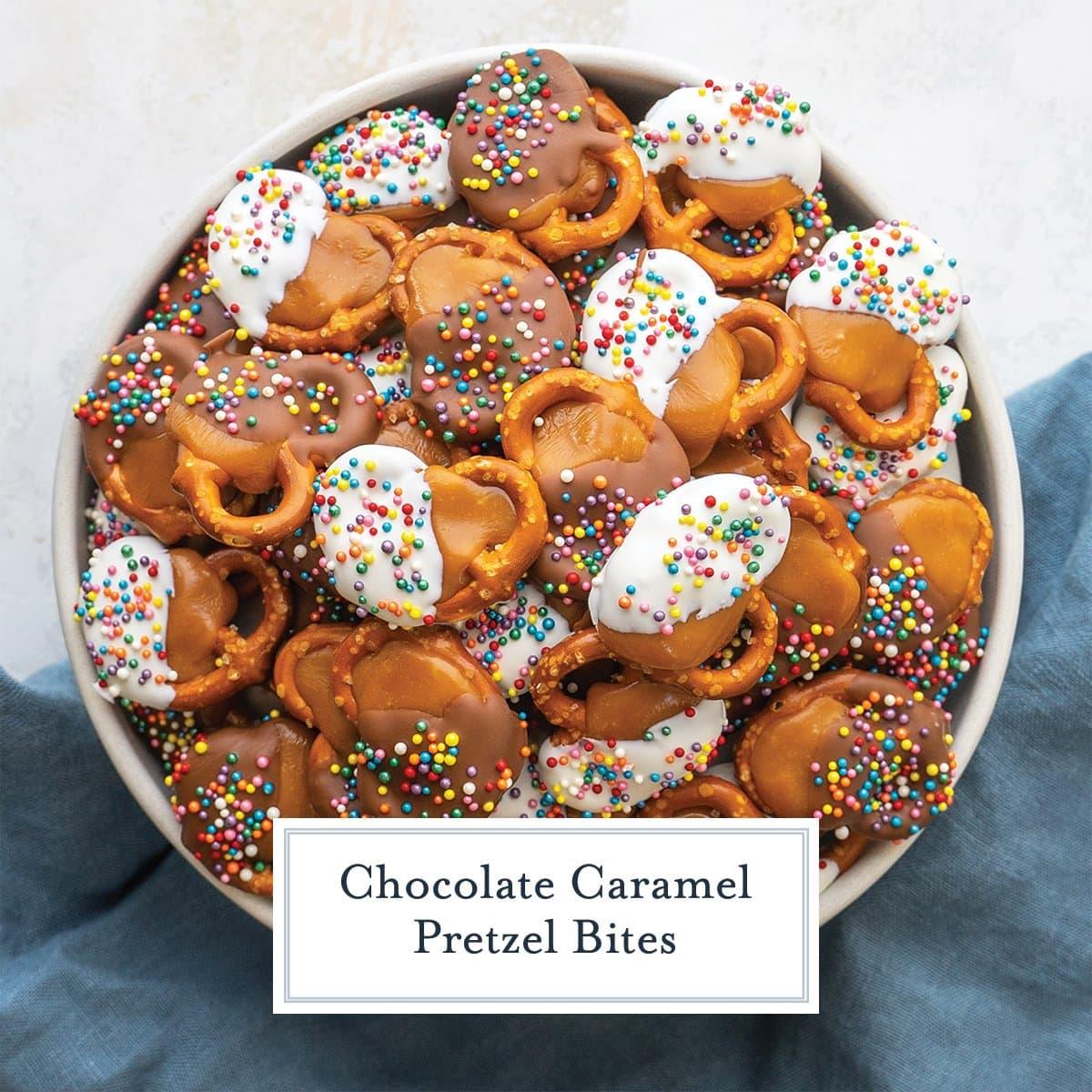 bowl of chocolate caramel pretzel bites