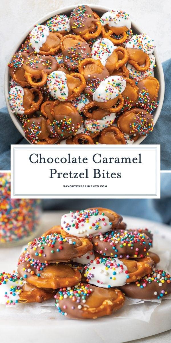 chocolate caramel pretzel bites for pinterest