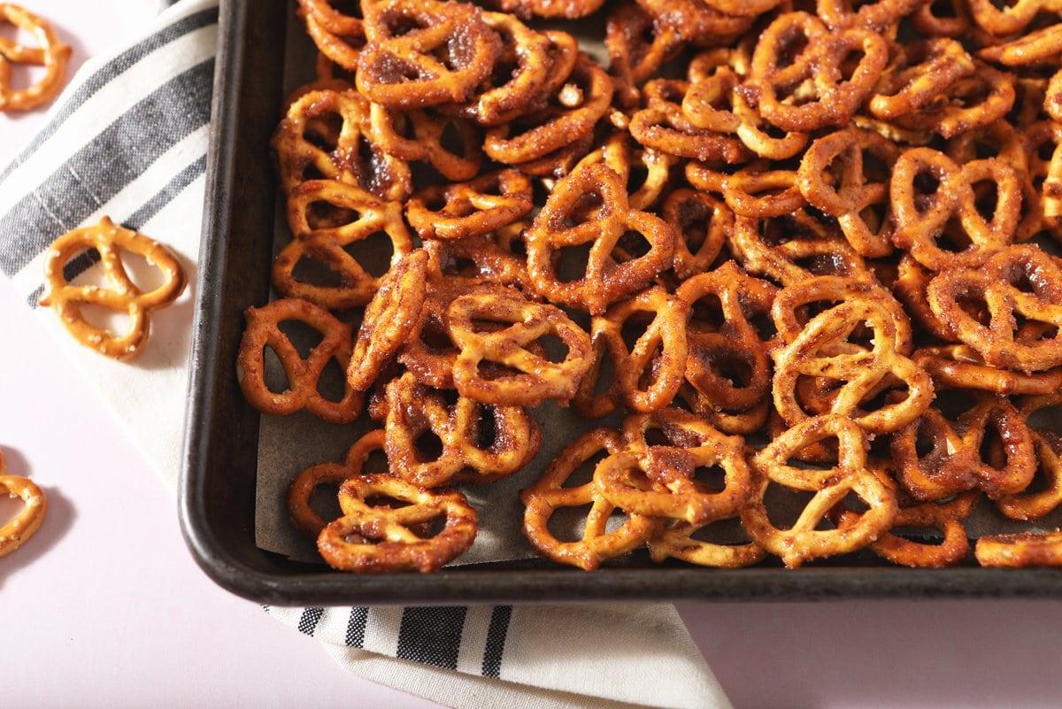 cinnamon sugar pretzels on a baking sheet