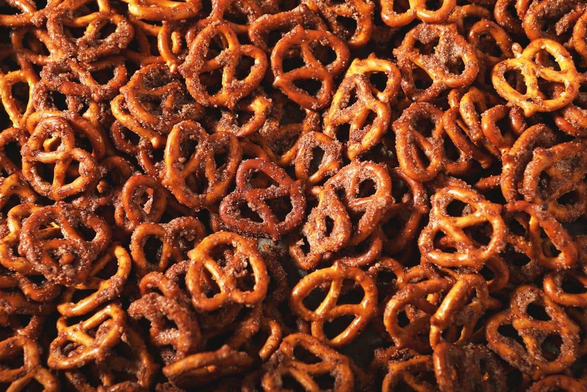 cinnamon sugar coated pretzel snack on in a bowl