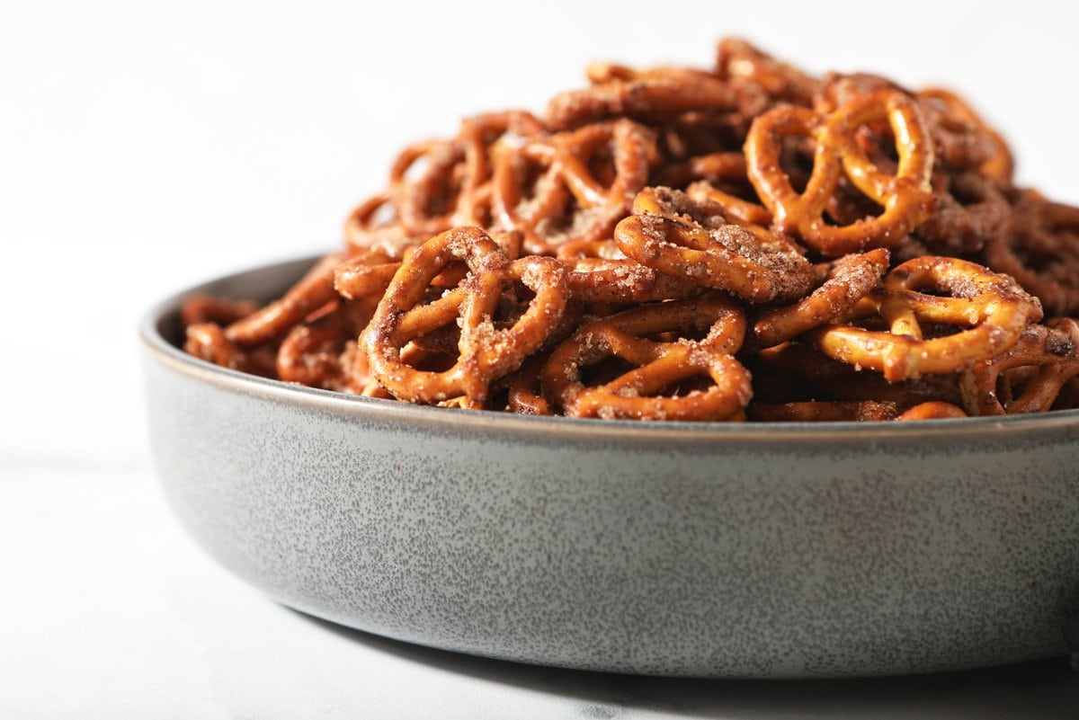 pretzel snack in a bowl- angle view