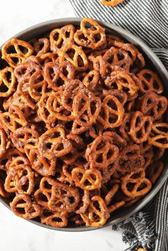 overhead of cinnamon sugar pretzels
