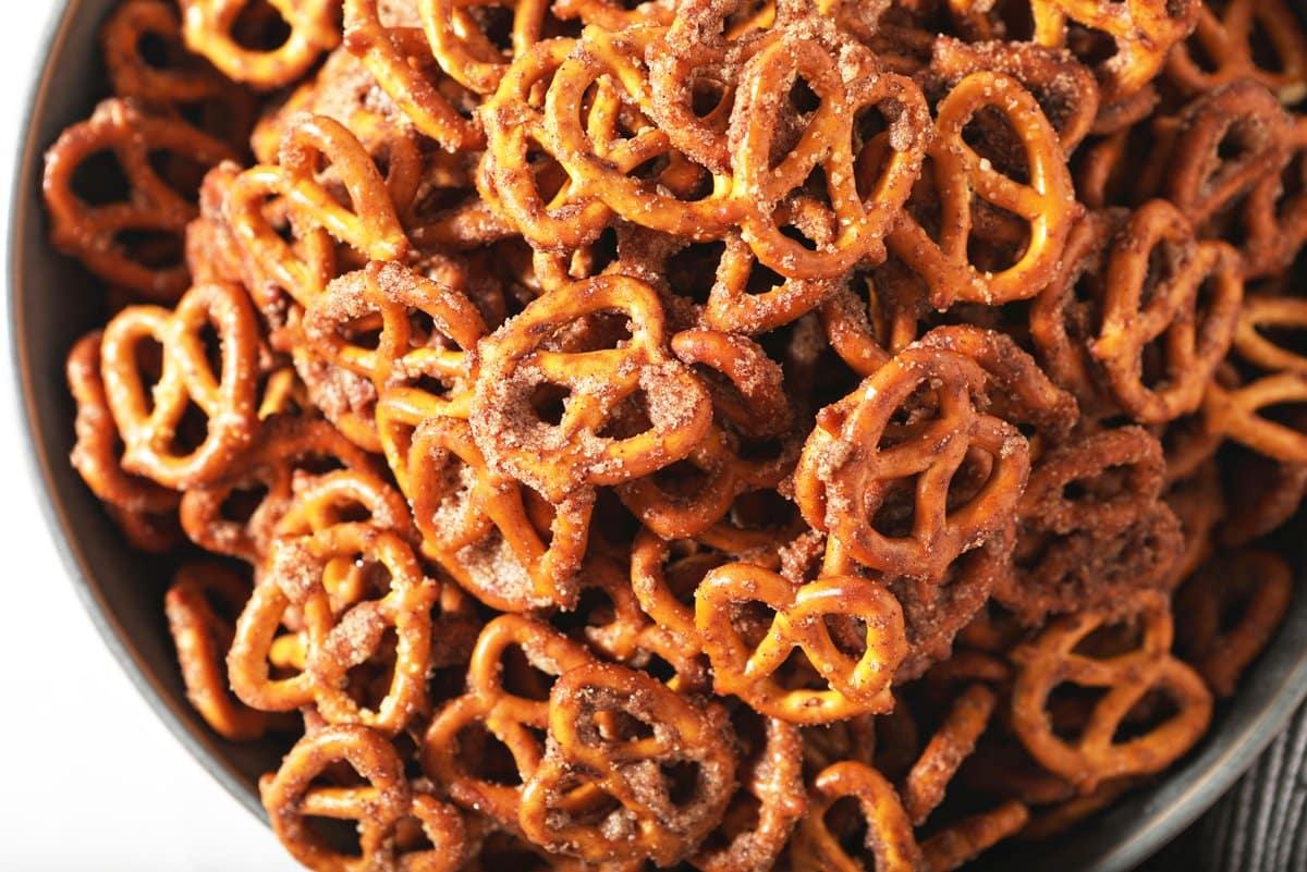 close up of cinnamon sugar pretzels