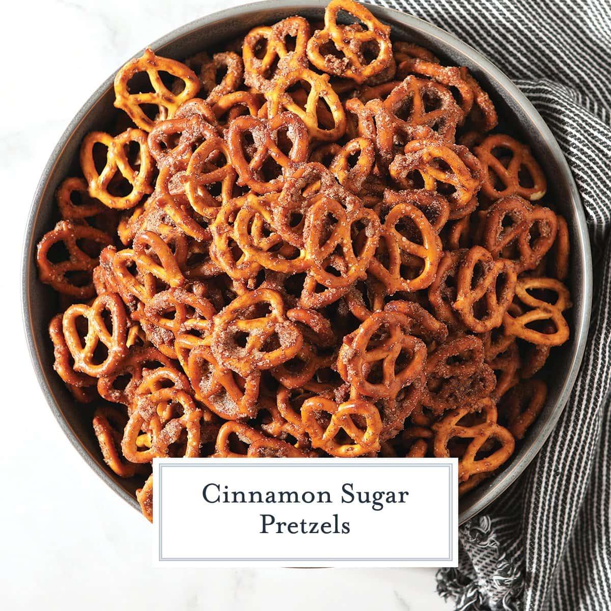 overhead of cinnamon sugar pretzels in a bowl
