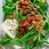 green beans with bacon, burrata and fresh herbs