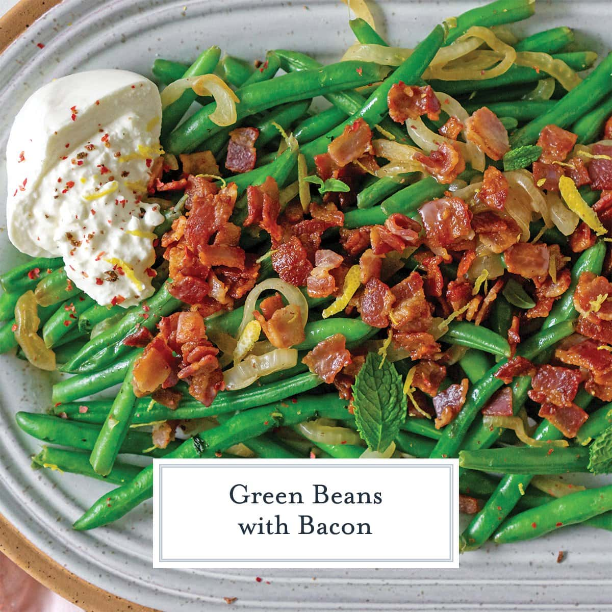 close up of green bean with onions, bacon and burrata