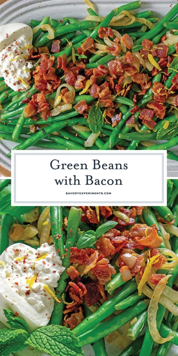 green beans with bacon pin for pinterest