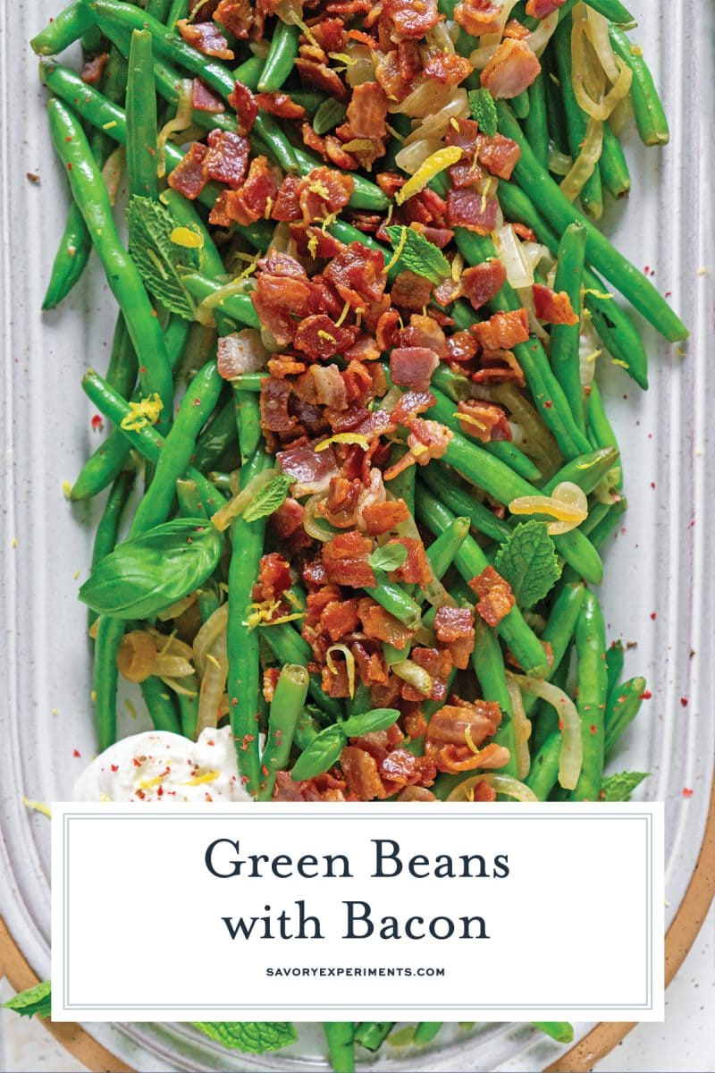 close up of green beans with bacon