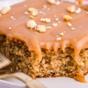 slice of peanut butter cake with frosting