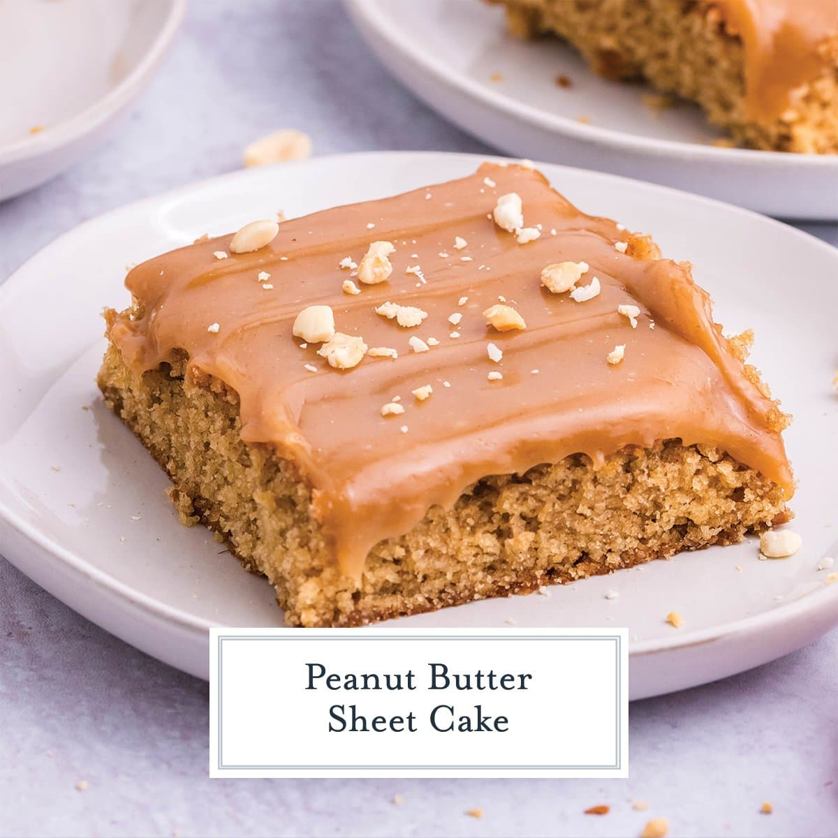angle of slice of peanut cake with peanut topping