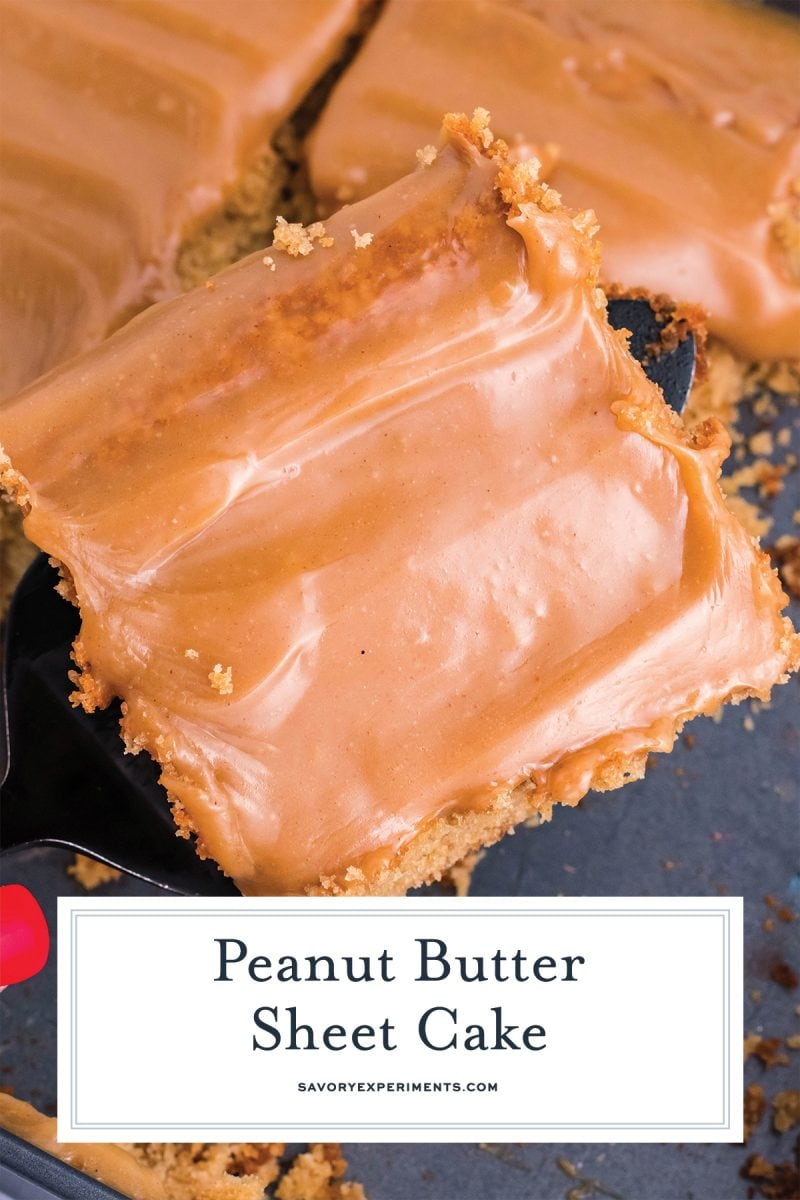 close up slice of peanut butter cake with hot frosting