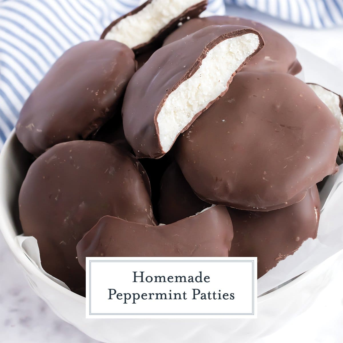 close up of peppermint patties in a bowl, one broken open