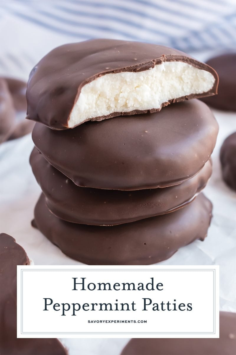 close up of stack of peppermint patties