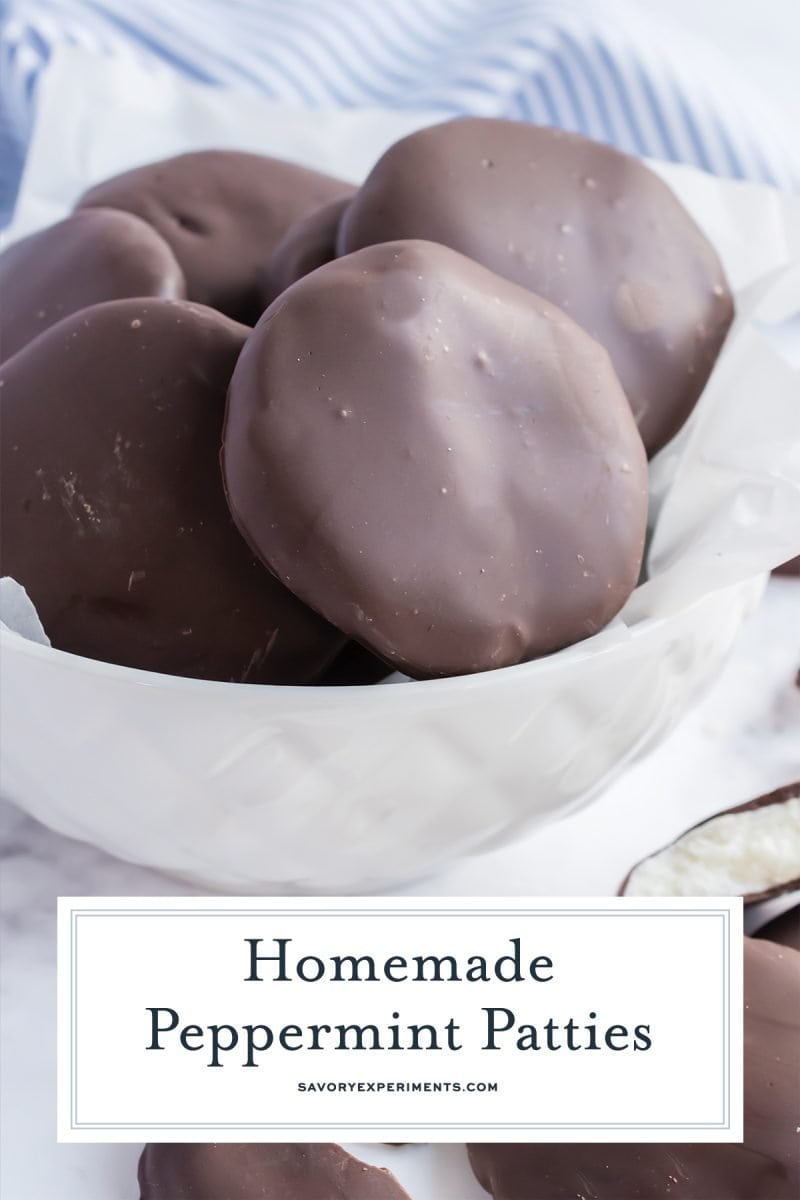 bowl of peppermint patties for pinterest