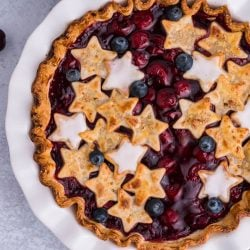 overhead of cherry pie with stars