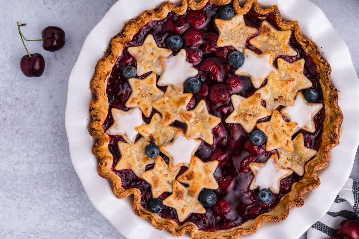 overhead of whole cherry pie