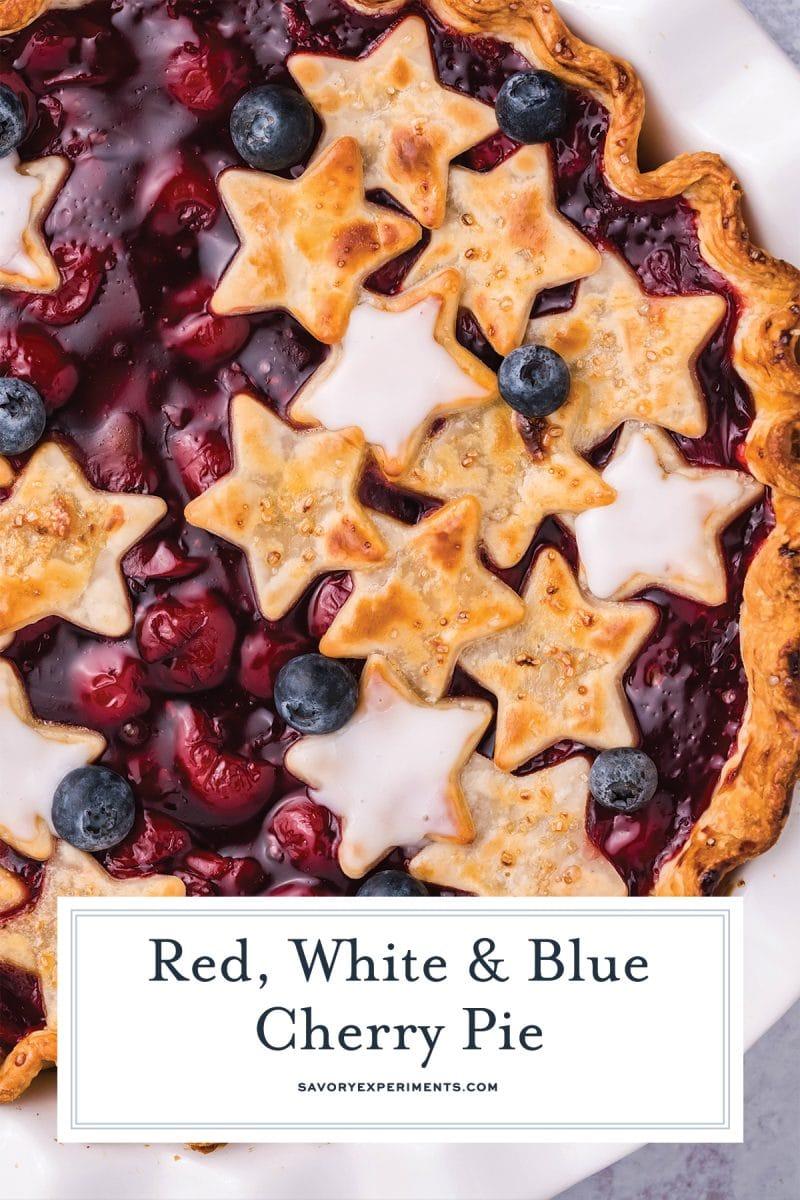 close up of patriotic cherry pie
