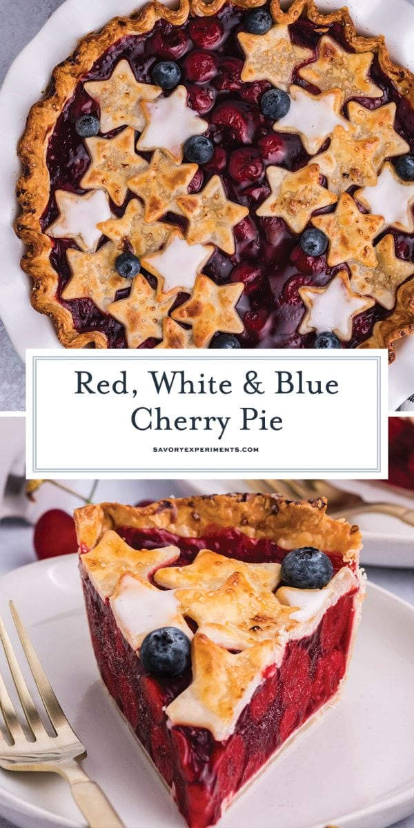 red, white and blue cherry pie for pinterest
