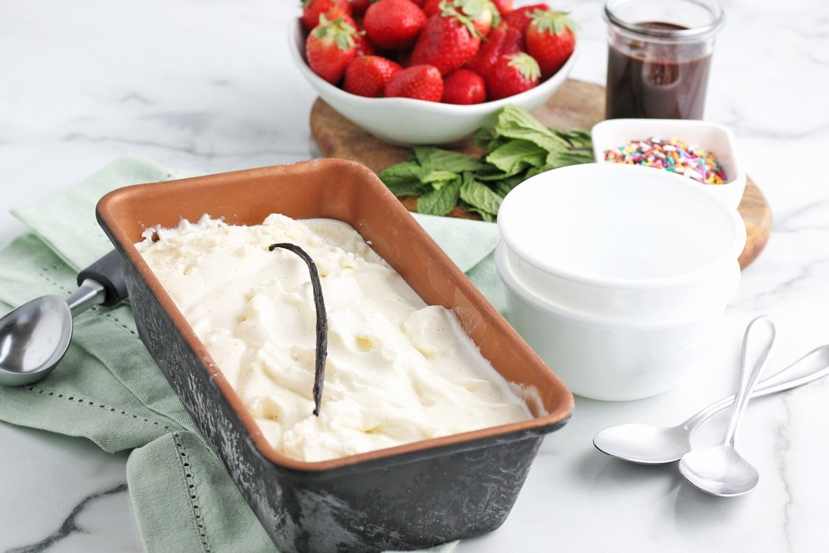 Vanilla ice cream in a loaf pan with topping ideas