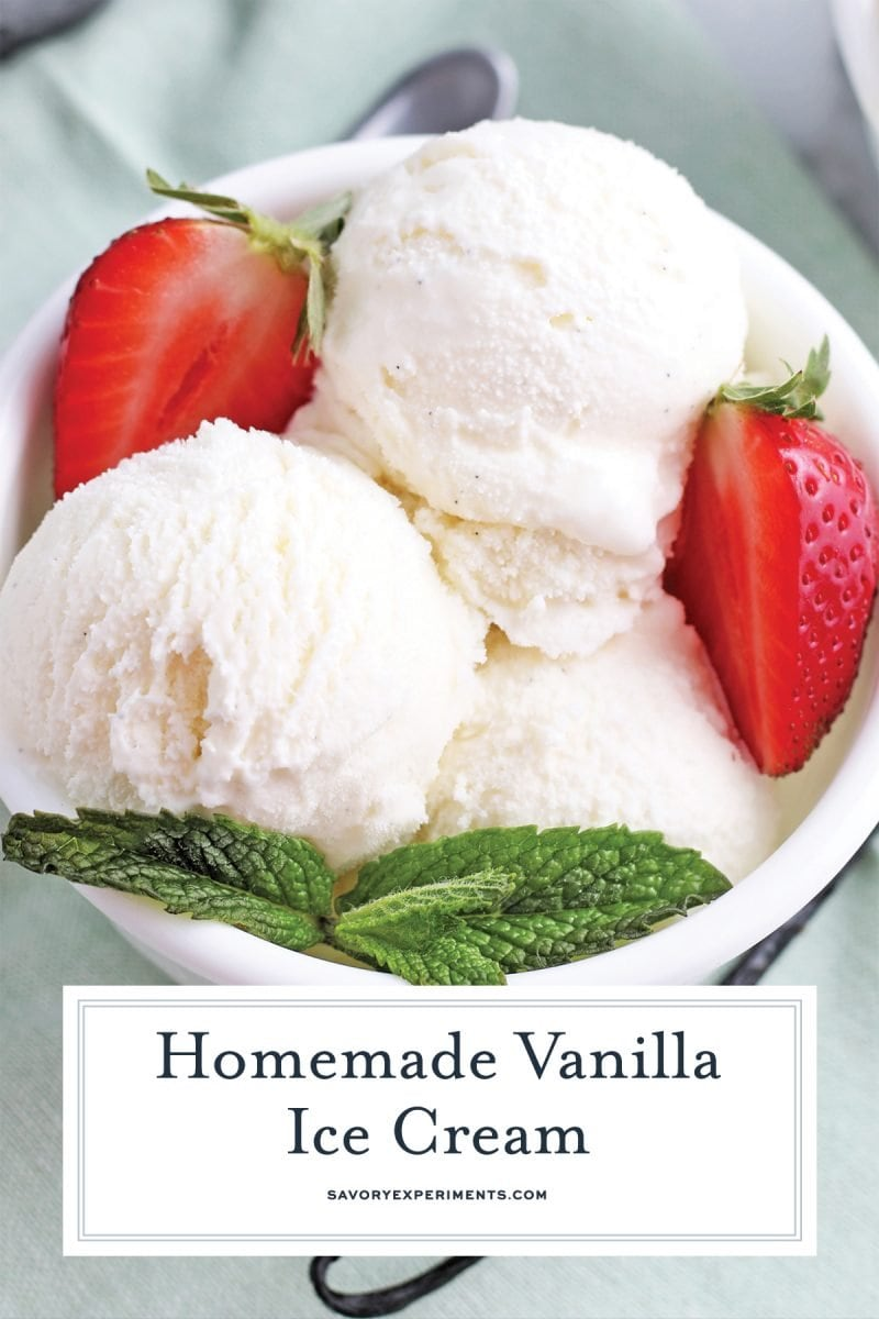 close up of vanilla bean ice cream scoops