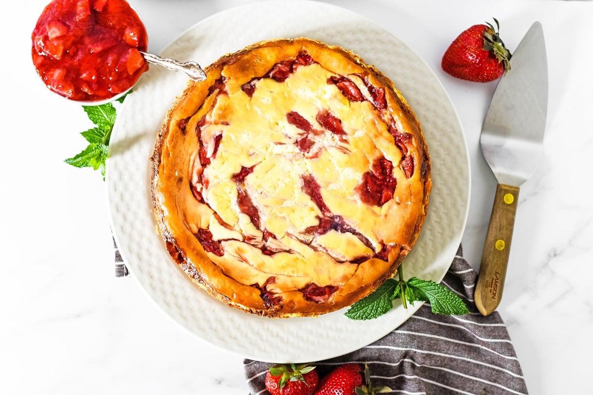 overhead of strawberry cheesecake