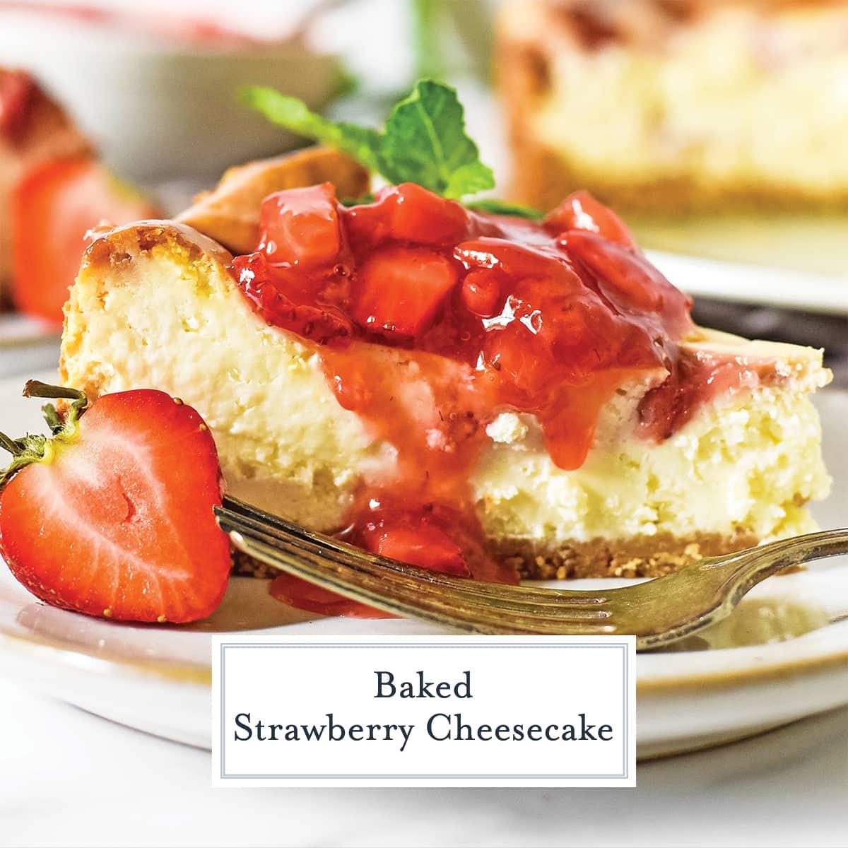 close up slice of strawberry swirl cheesecake
