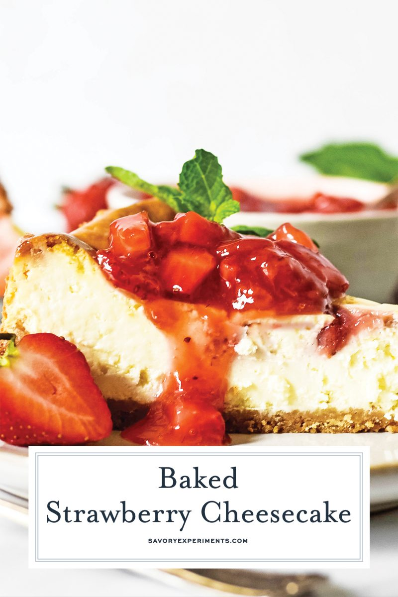 close up of fresh strawberry sauce on cheesecake slice