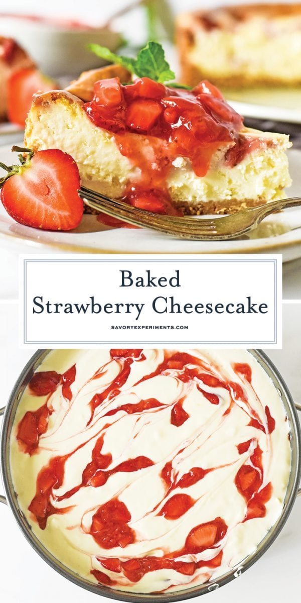 baked strawberry cheesecake long pin for pinterest