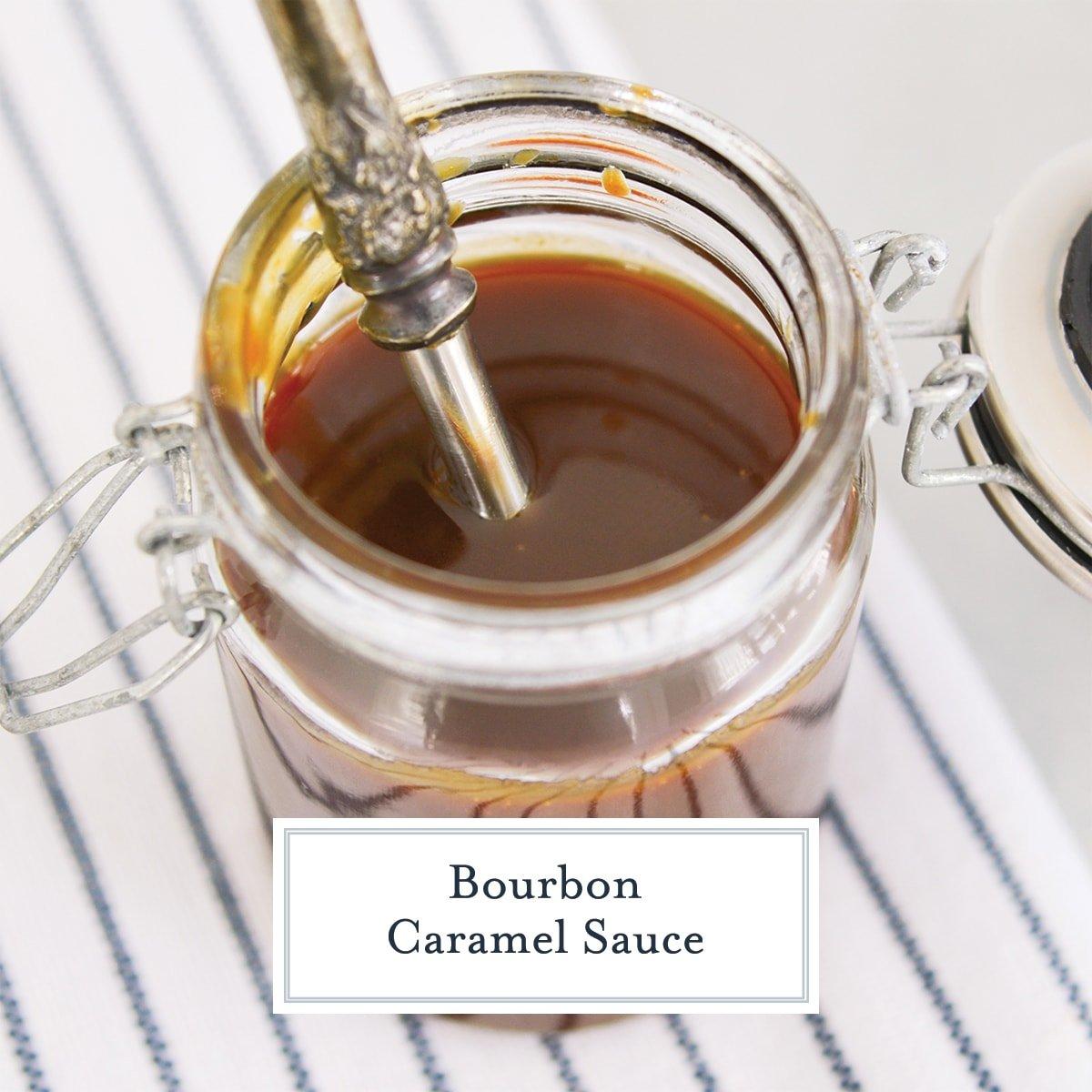 overhead of homemade caramel in a glass jar
