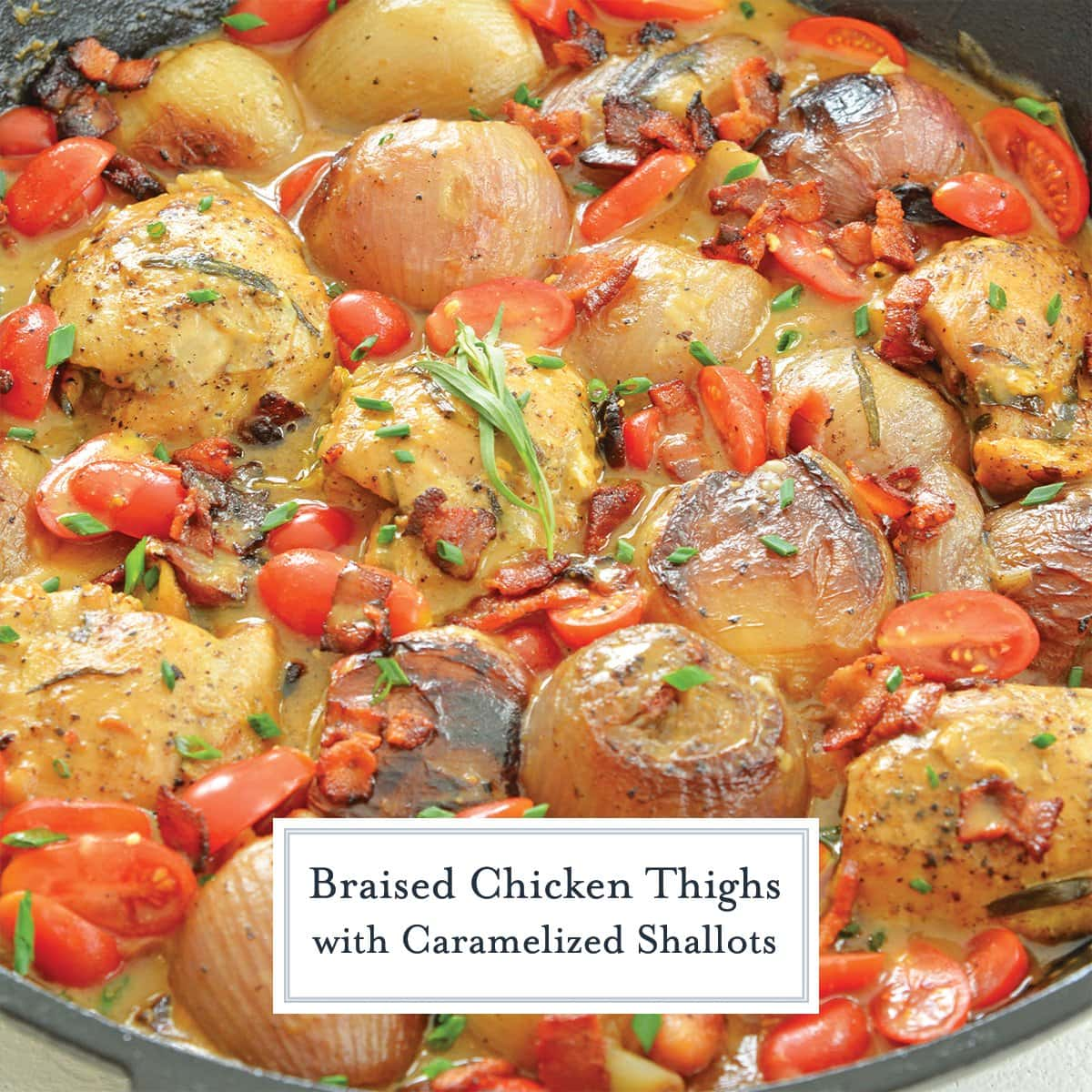 chicken thighs and shallots in a cast iron skillet with tarragon