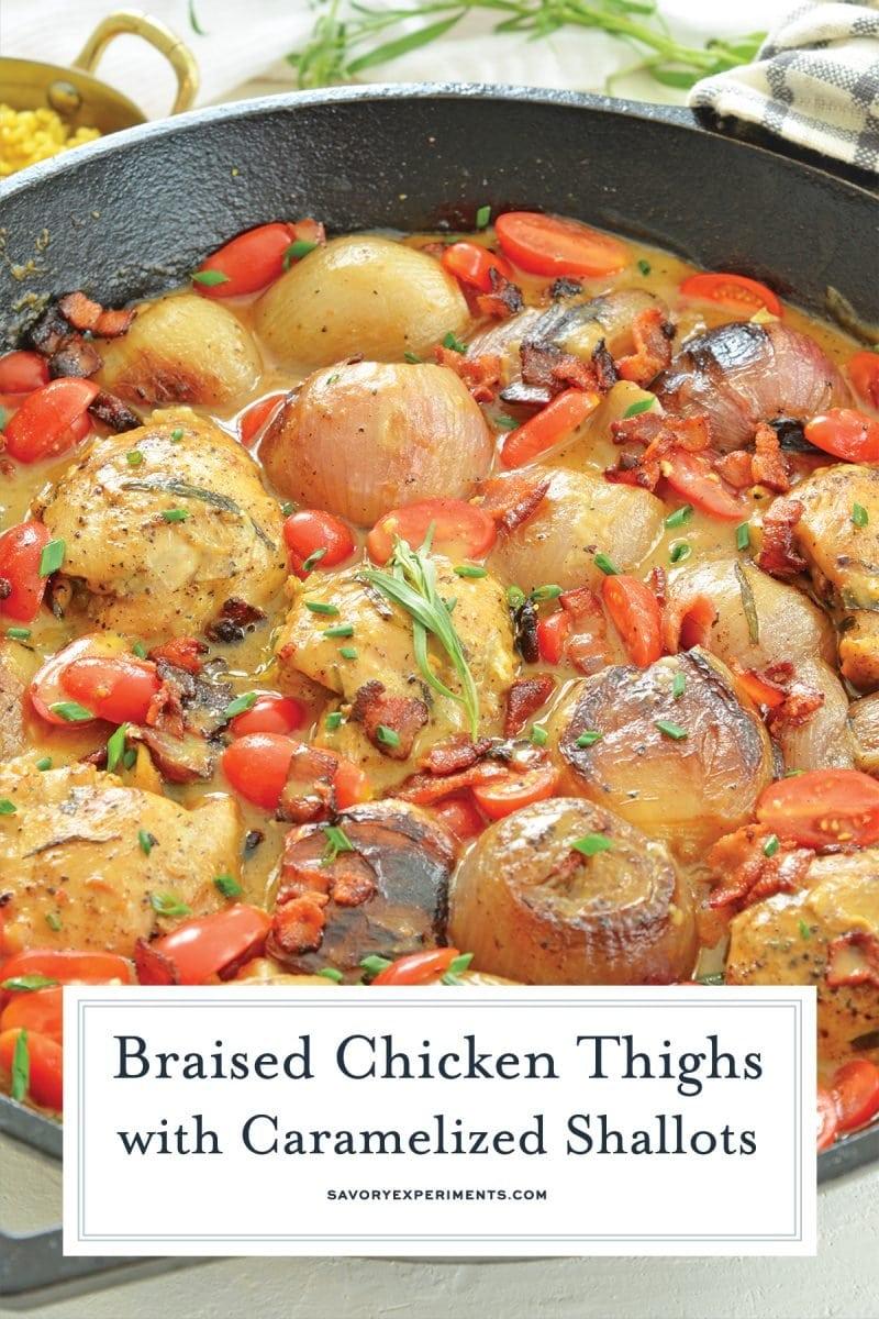 close up of braised chicken thigh recipe