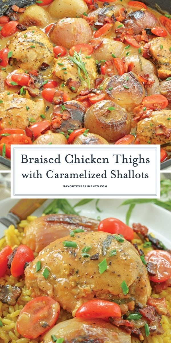 long pin for braised chicken thighs in a skillet