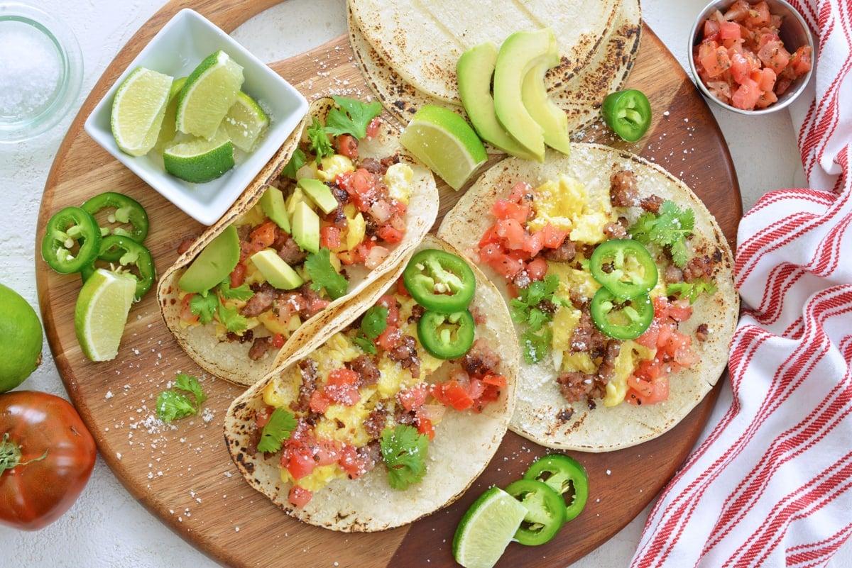 serving tray of breakfast tacos