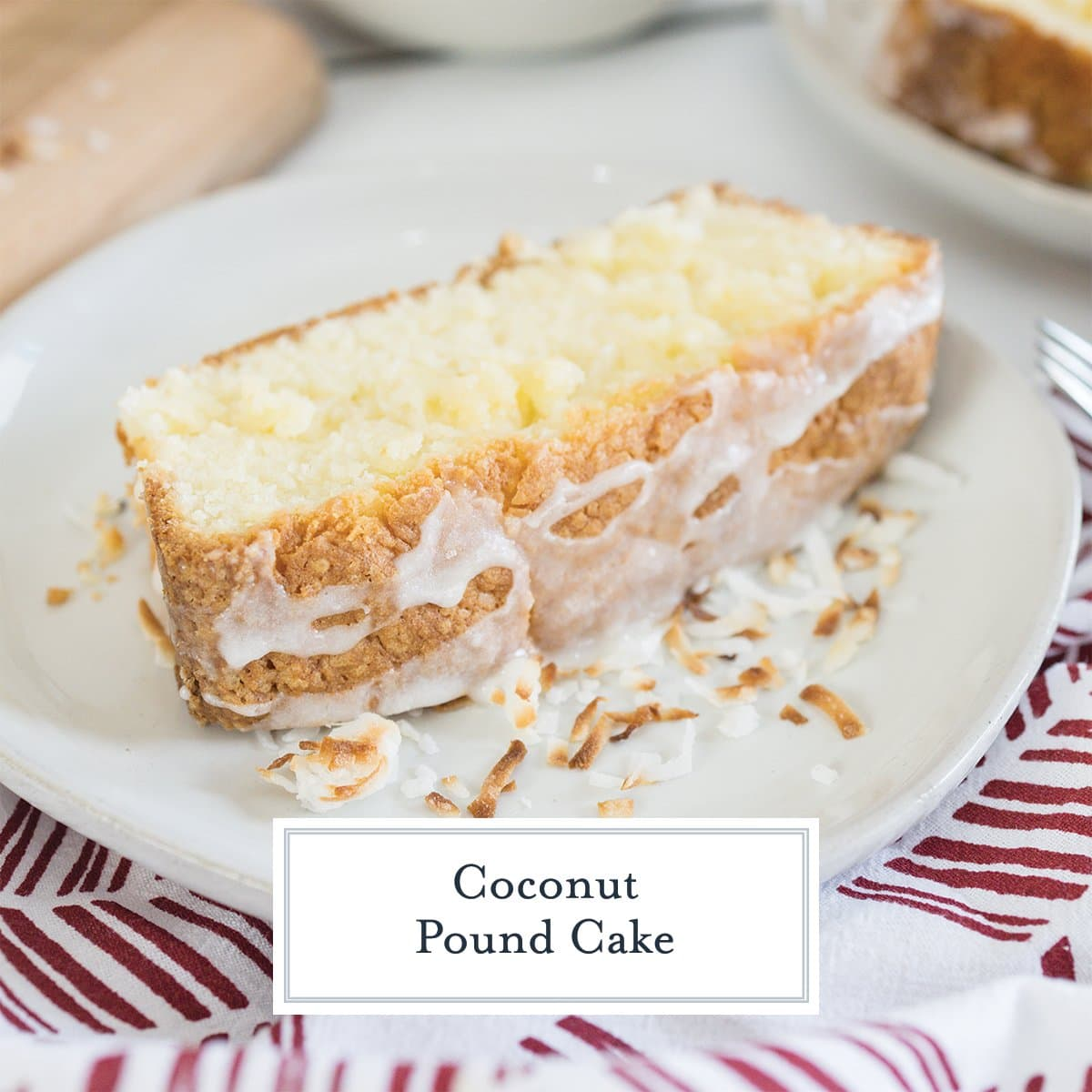 slice of iced coconut pound cake on a white plate
