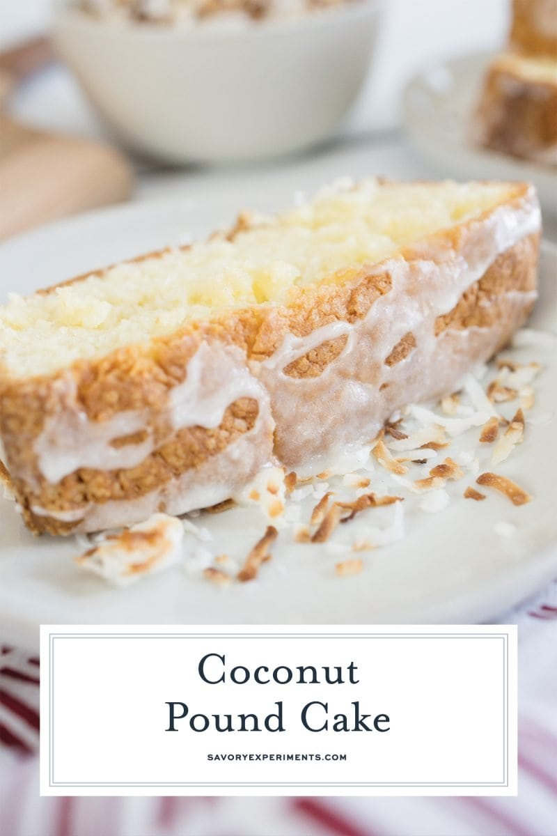 close up of slice of cake with glaze and coconut flakes