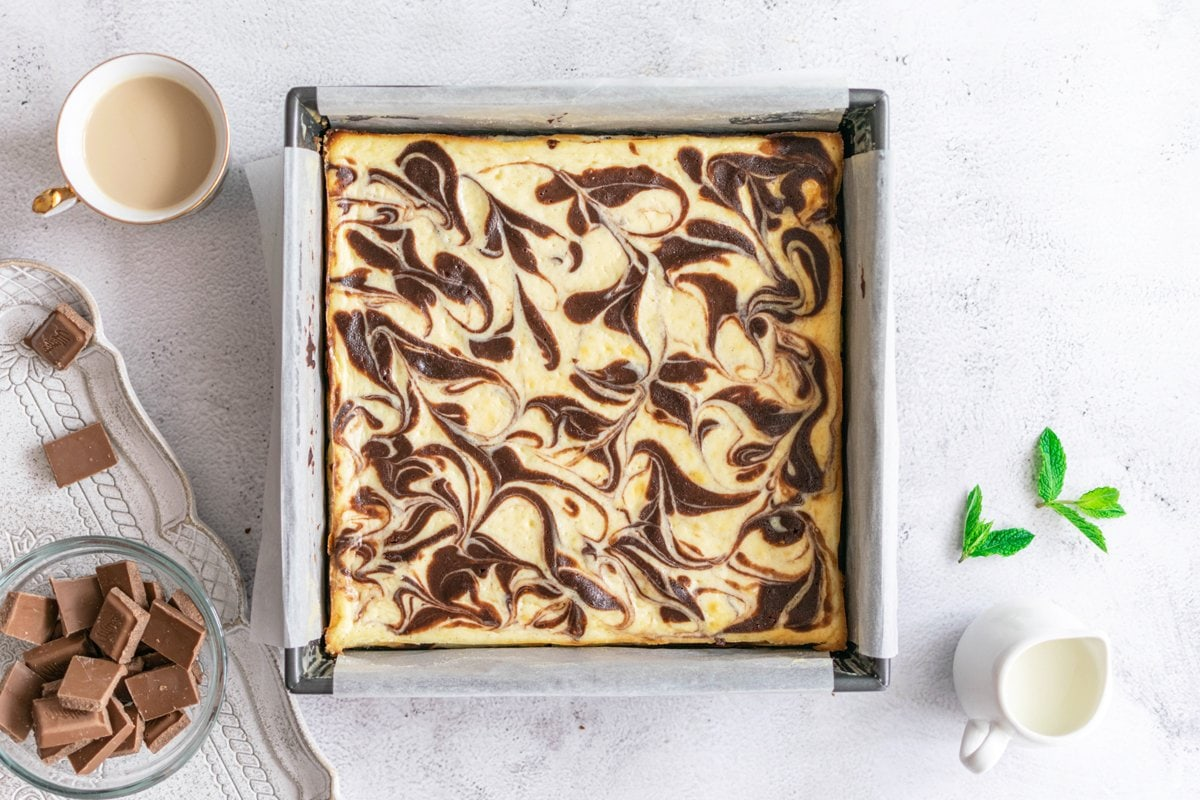 swirled brownies in a square baking pan