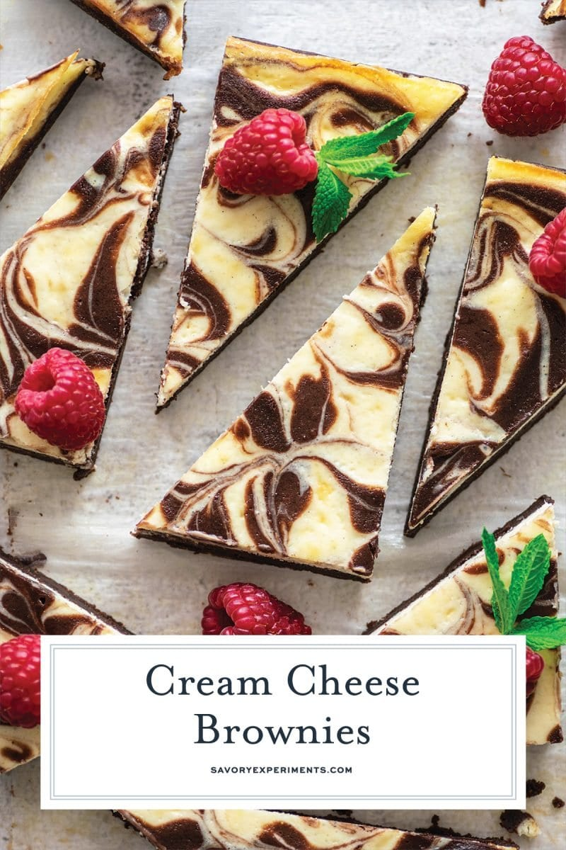 close up cut brownies with fresh fruit