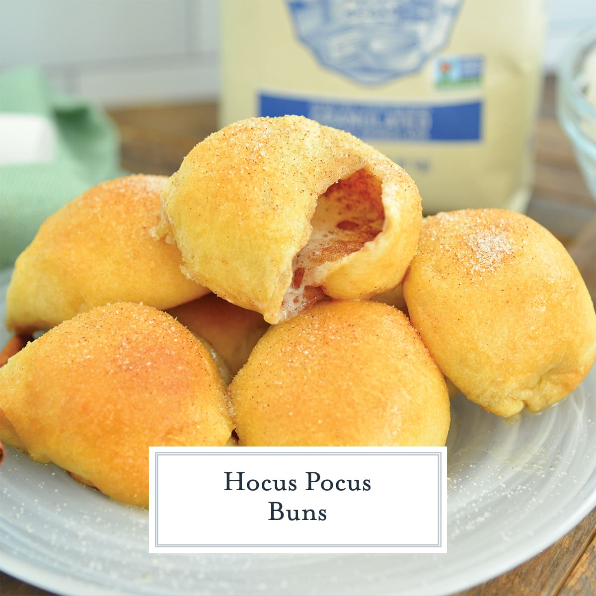 pile of hocus pocus buns with one cracked open