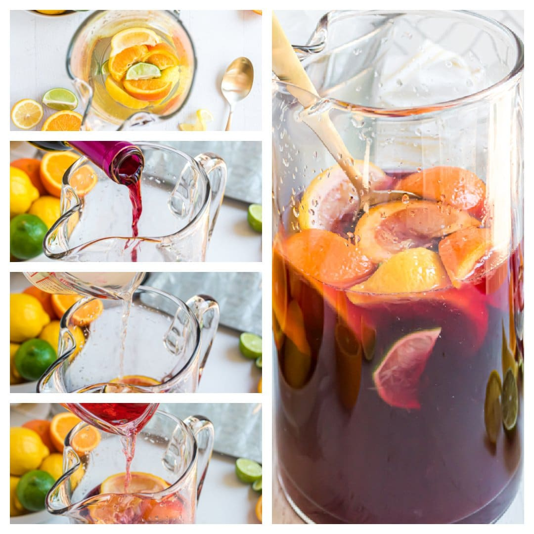 step-by-step images showing how to make sangria in a pitcher