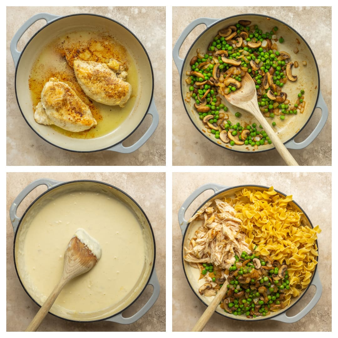step-by-step images of how to make chicken tetrazzini