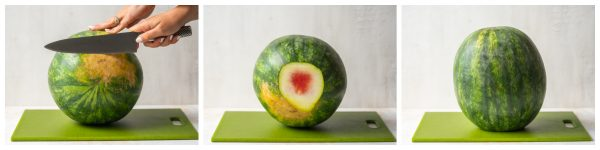 how to cut the bottom off a watermelon so it stands up