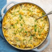 overhead of chicken tetrazzini casserole with spoon