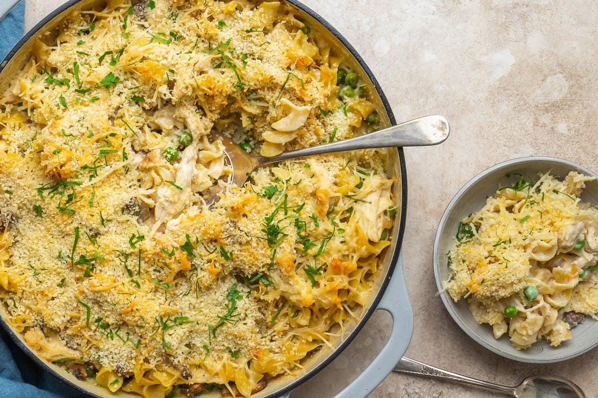 cheesy chicken casserole being served