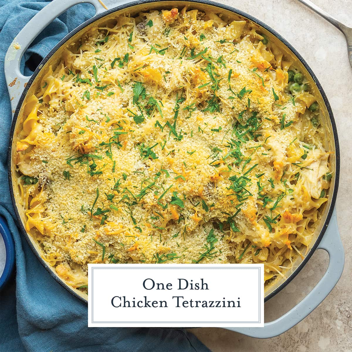 overhead of chicken tetrazzini recipe with parsley garnish