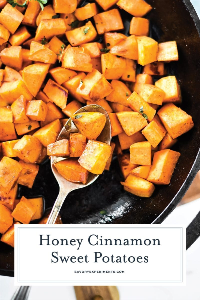 close up of pan fried sweet potatoes with cinnamon and honey
