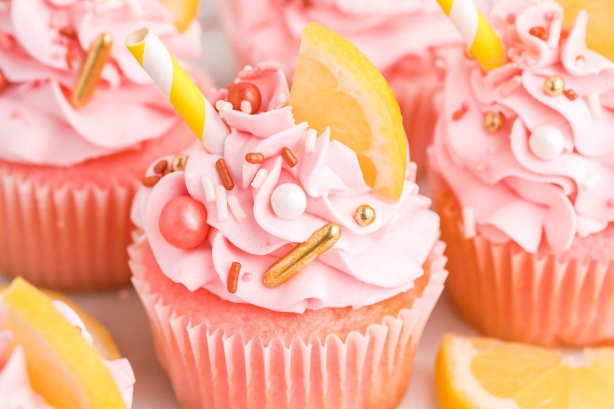angle close up of pink lemonade cupcakes